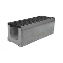 Лоток бетонный водоотводный SUPER (Maxi DN200) H230 с решеткой щелевой чугунной ВЧ, кл.Е