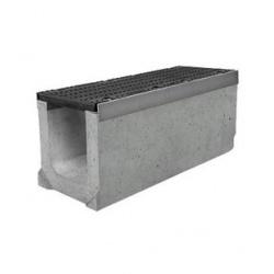 Лоток бетонный водоотводный SUPER (Maxi DN200) H300 с решеткой щелевой чугунной ВЧ, кл.Е
