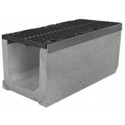 Лоток бетонный водоотводный SUPER (Maxi DN300) H410 с решеткой щелевой чугунной ВЧ, кл.Е