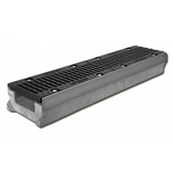 Лоток бетонный водоотводный SUPER (Maxi DN110) H270 с решеткой щелевой чугунной ВЧ