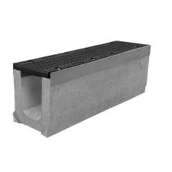 Лоток бетонный водоотводный SUPER (Maxi DN150) H130 с решеткой щелевой чугунной ВЧ, кл.Е